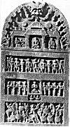 A grand four-storied hero-stone of the Vijayanagar period