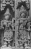 Two women at the Somanath temple, Somanathapur