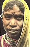 A Tribal woman wearing self-made jewelry, Madhya Pradesh