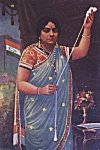 A lady spinning yarn