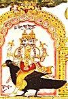 Two Headed Deity Shani Rides a Crow