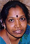 Indian Woman with stick-on vermilion