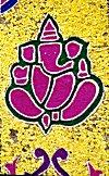 Lord Ganesh in a Floral Rangoli