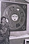 Artist Kamalakshi with her Painting